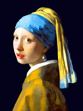 Meisje met de parel - zonder verfscheuren digitaal bewerkt van Jan Willem van Doesburg