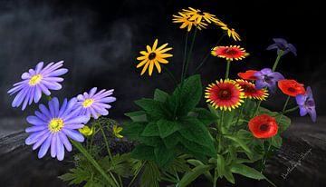 3d-Illustration. Blume küsst Blumenstrauß. von Norbert Barthelmess