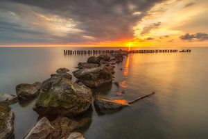 Sunrise at the IJsselmeer lake in The Netherlands