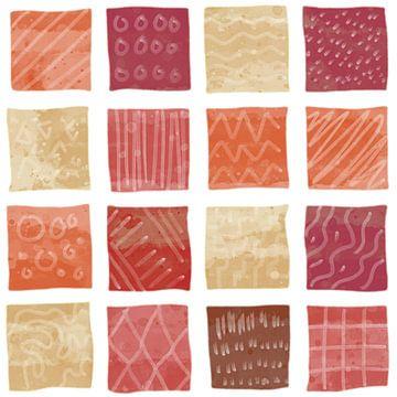 Gekleurde blokken waterverf stijl in rood oranje en paars van Emiel de Lange