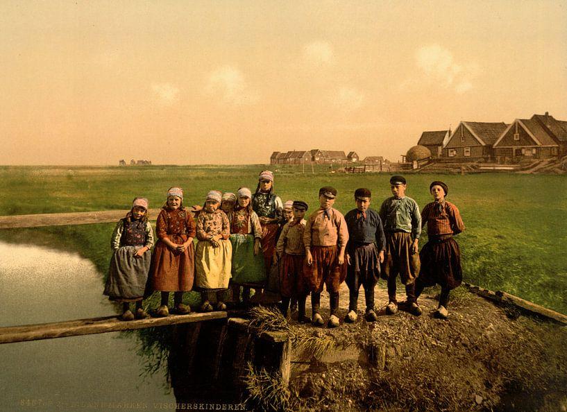 Weeskinderen in de polder van Vintage Afbeeldingen