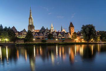 Stadsperspectief met oude stad, Donaubank en Ulmse Dom in Ulm, Duitsland van Peter Schickert