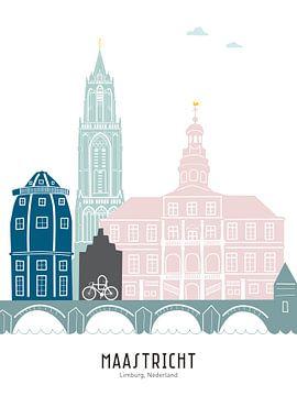 Skyline-Illustration Stadt Maastricht in Farbe von Mevrouw Emmer