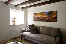 Klantfoto: Oudegracht met Weesbrug in Utrecht van Donker Utrecht, op canvas
