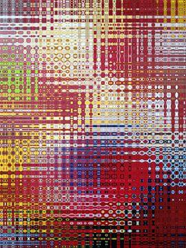 Abstract in rood blauw geel en groen van Maurice Dawson