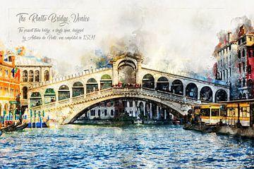 Rialtobrug, aquarel, Venetië van Theodor Decker