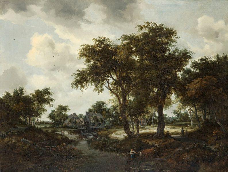 Die Wassermühle (Die Trevor-Landschaft), Meindert Hobbema von Meesterlijcke Meesters