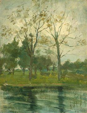 Zwei Bäume silhouettiert hinter einem Wasserlauf, Piet Mondrian