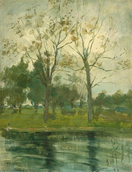 Zwei Bäume silhouettiert hinter einem Wasserlauf, Piet Mondrian von Meesterlijcke Meesters