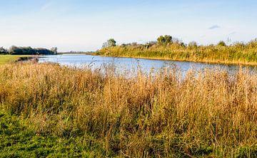 Smalle  Nederlandse rivier aan het begin van de winter van Ruud Morijn