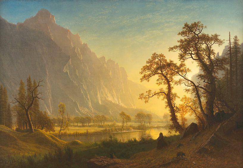Sonnenaufgang, Yosemite Valley, Albert Bierstadt von Meesterlijcke Meesters