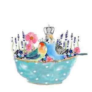 Vogel in schaaltje met lavendel en bloemen van