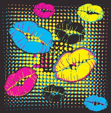 Bunte Lippen als Pop Art Design von Herbert Blum