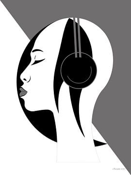 Jazz (Weiß) von Ton van Hummel (Alias HUVANTO)