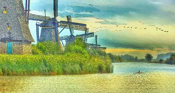 Molens bij Kinderdijk in Nederland - Geschilderde Pentekening