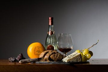 Stilleven met kaas en Cognac van Mooie Foto