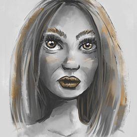 Portrait d'une femme dans des tons de gris et des accents dorés sur Emiel de Lange