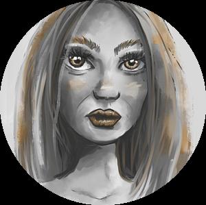 Portret van vrouw in grijstinten en goudgele accenten van Emiel de Lange