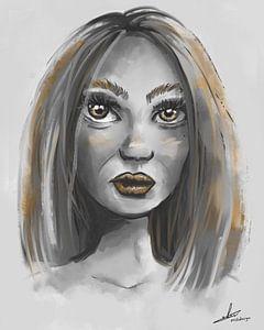 Porträt einer Frau in Grautönen und Goldakzenten
