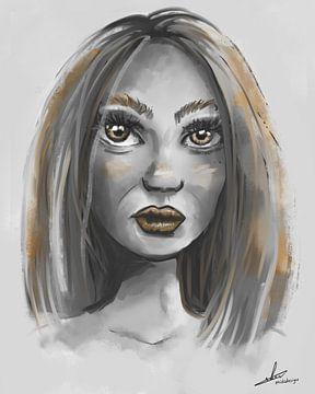 Portrait d'une femme dans des tons de gris et des accents dorés