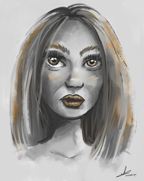 Porträt einer Frau in Grautönen und Goldakzenten von Emiel de Lange