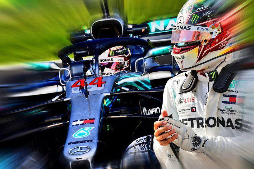 Lewis Hamilton - F1 World Champion 2008, 2014, 2015, 2017, 2018, and 2019 von Jean-Louis Glineur alias DeVerviers