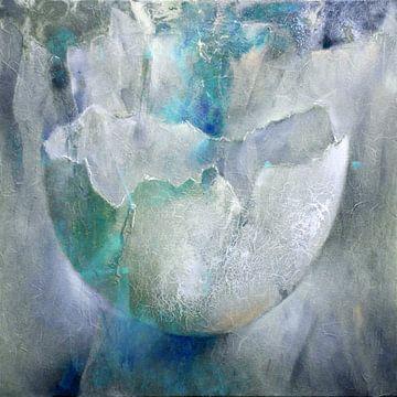 De eierschaal - structuren in turkoois, blauw en grijs van Annette Schmucker