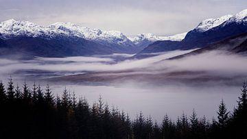 das schottische Hochland erwacht an einem schönen Morgen, voller Nebel im Tal von Studio de Waay