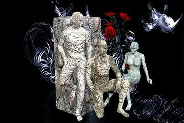 Illustration en 3D. Des gens congelés. sur Norbert Barthelmess