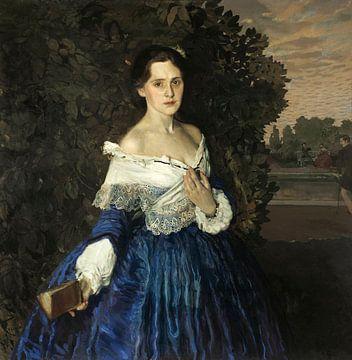 Dame in Blau. Porträt von E.M. Martynowa, Konstantin Somow