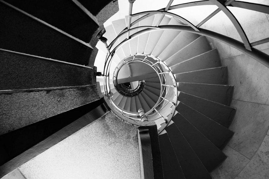 Wenteltrap Siegessäule Berlin zwart-wit beeld