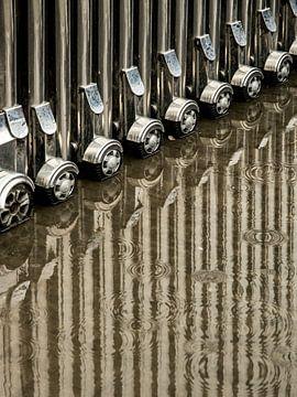 Weerspiegeld harmonicahek met wielen van Arina Keijzer