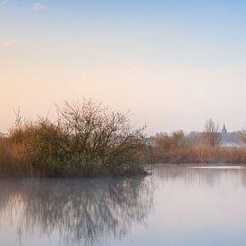 Verstild landschap met vliegende eenden. van Evert Jan Kip