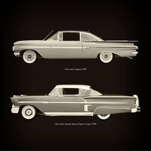 Chevrolet Impala 1959 en Chevrolet Impala Special Sport Coupe 1958 van Jan Keteleer