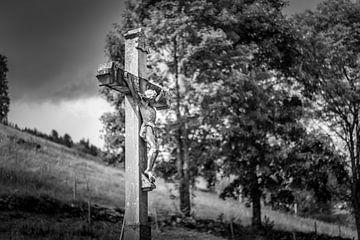 TODTNAU, GERMANY - JULY 20 2018: Christ Cross Along a Hiking Tra