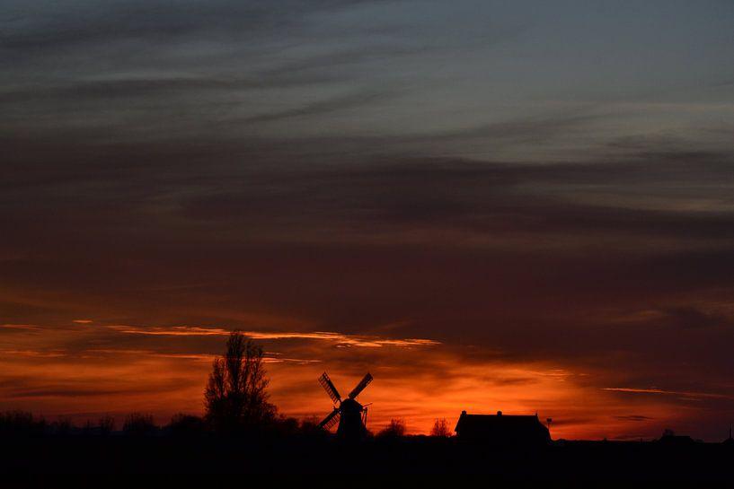 Windmolen Visvliet, Groningen, Nederland van Mark van der Werf