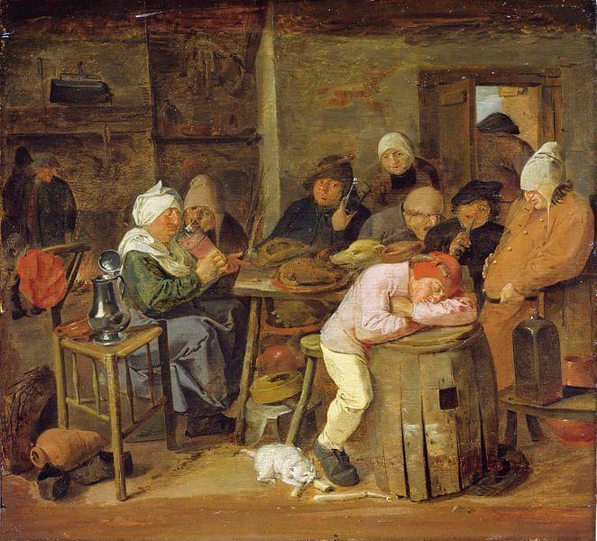 Bauern in einem Gasthaus, Adriaen Brouwer von Meesterlijcke Meesters