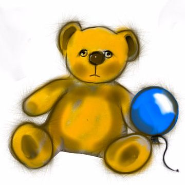 Teddybear met blauwe ballon van Raina Versluis