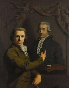 Selbstbildnis, das sich auf das Porträt seines verstorbenen Kollegen Dirk Jacobsz Ploegsma (1769-91)