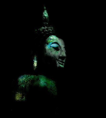 Hoofd Buddha in groen, blauw en turkoois van Anouschka Hendriks