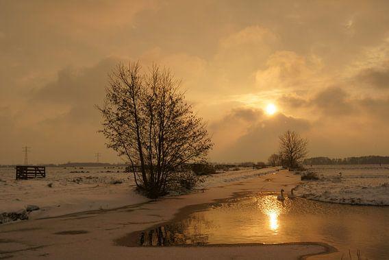 Krimpenerwaard in de winter van Michel van Kooten