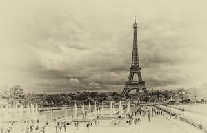 Eiffeltoren in Parijs in vintage look van