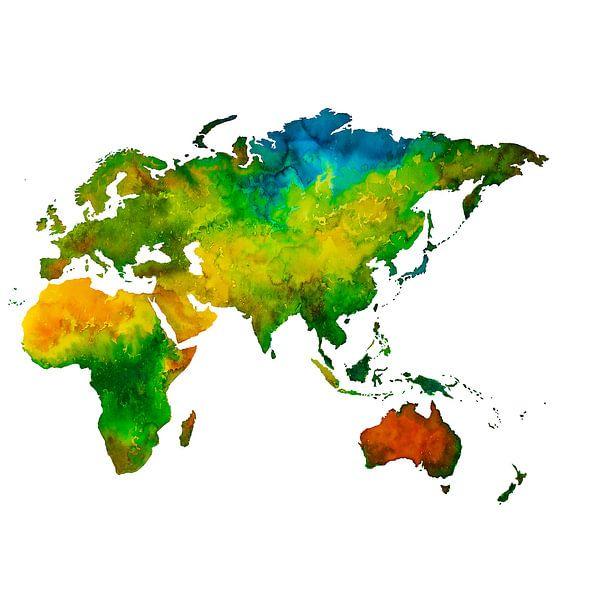 Het Oostelijk Halfrond in Aquarel | Wandcirkel van Wereldkaarten.Shop