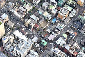 Tokyo, oude woonwijk van bovenaf gezien  van