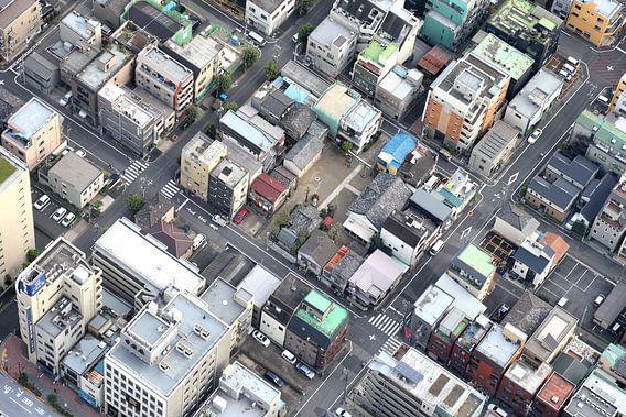 Tokyo, oude woonwijk van bovenaf gezien  van Inge van den Brande