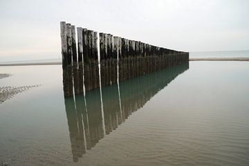 Rij golfbrekers in de Nederlandse zee bij eb von Anouk Noordhuizen