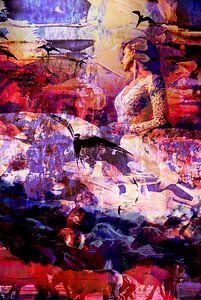 Frau mit Schwalben und Pferden von Maureen Kroep