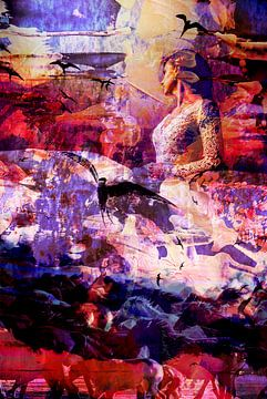 Femme avec des hirondelles et des chevaux sur Maureen Kroep