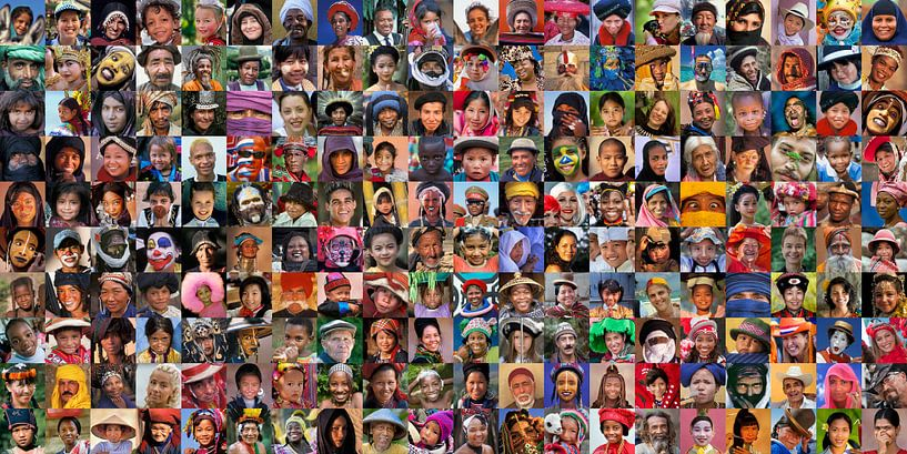 Collage de 200 portraits, dans le monde entier. sur Frans Lemmens