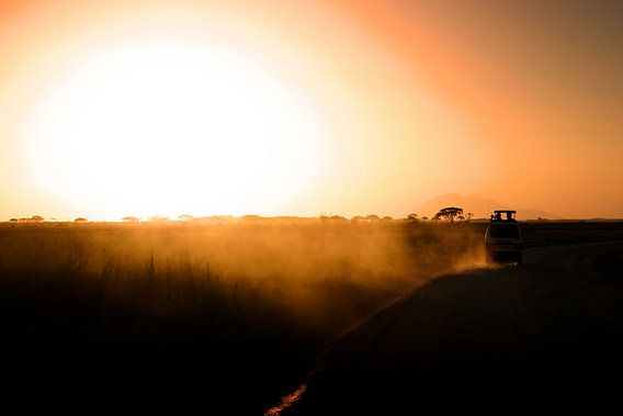 Zonsondergang Kenia van Leon Weggelaar